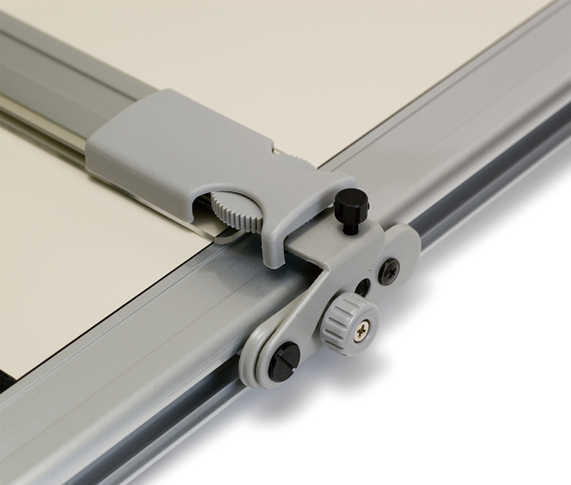 Parallel ruler with scale fixed to drafting board