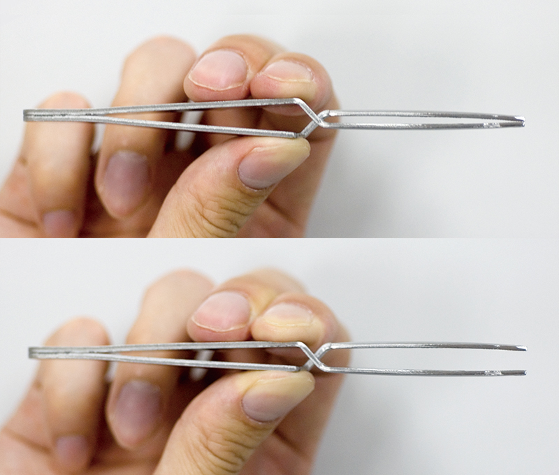 Reverse action tweezers (The closed tip opens when you squeeze the tweezers)