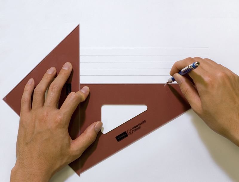 Use your left hand to hold both triangles in place. Move the triangle on the right downward.