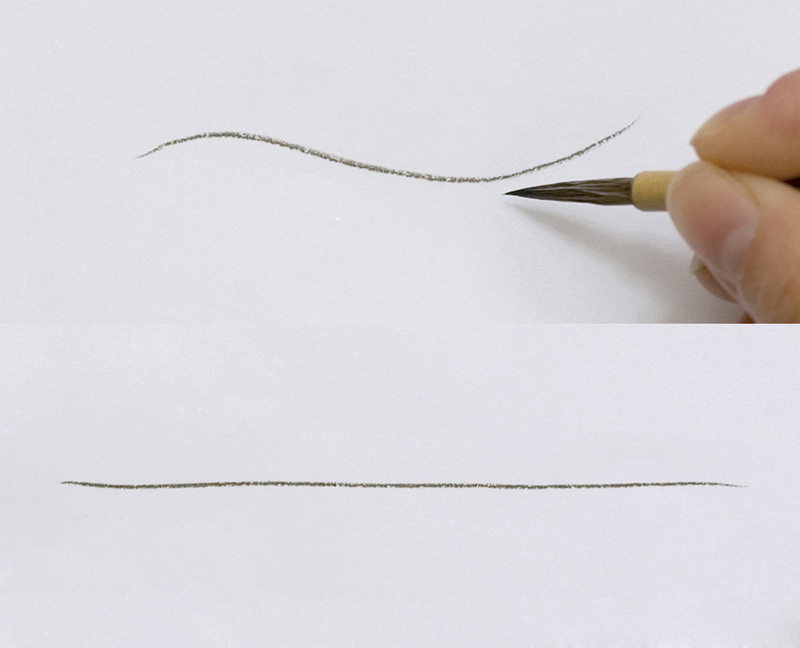 Making lines with a mensō fude