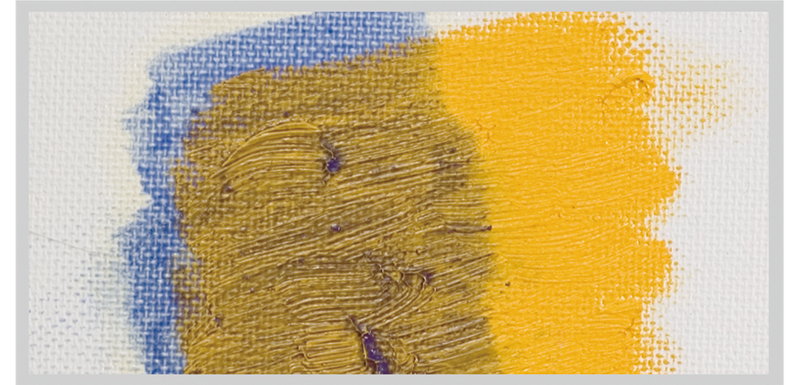 Paint dissolved with drying oil, etc. (blue), layered on top of hardened paint (yellow)