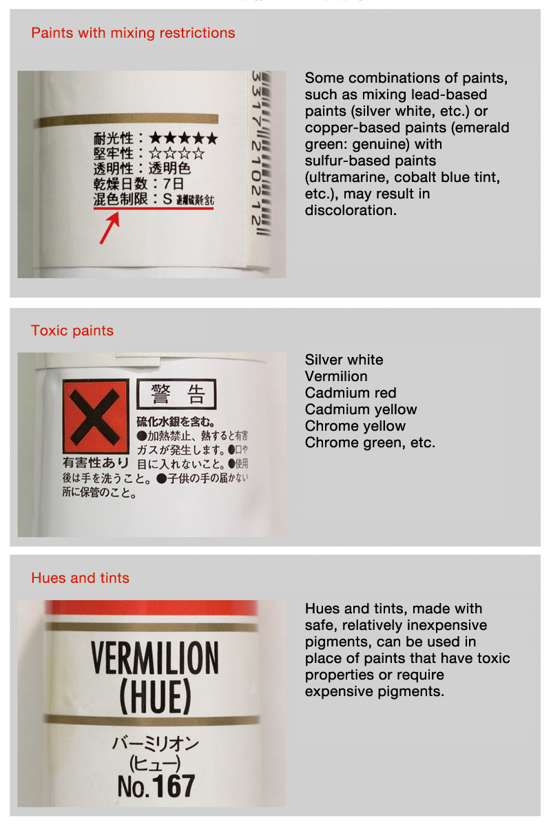 There are many warnings and precautions on oil paint tubes. Make sure to read them carefully before using the paint.