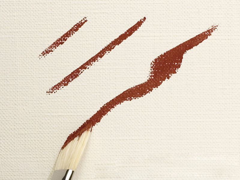 Making sharp curves with the edge of the brush (flat brush)