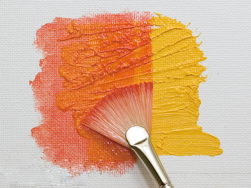 Painting with lightly mixed paints (flat brush/fan)