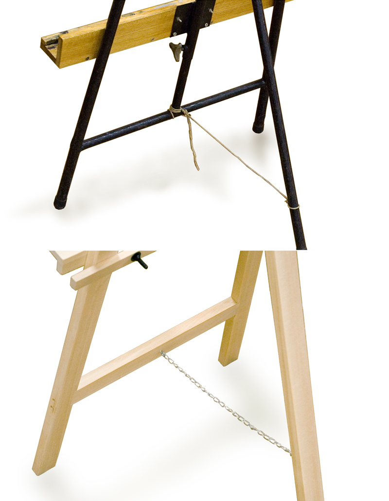 Use string or similar items to tie the legs together and prevent the easel from falling down