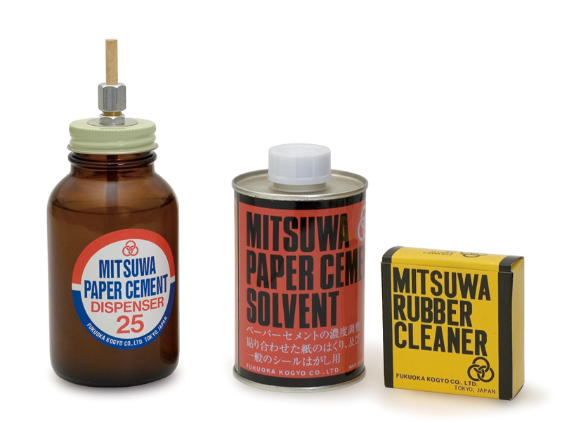From left to right: paper cement dispenser, solvent, rubber cleaner