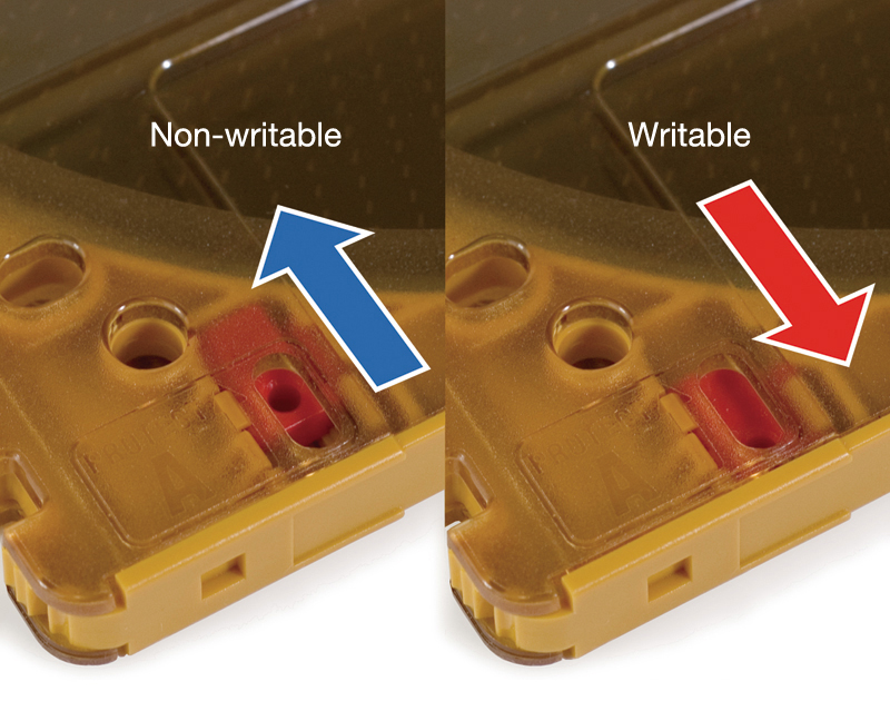 You can slide the write-protect tab at the bottom left of the cartridge to prevent accidental deletion and overwriting.