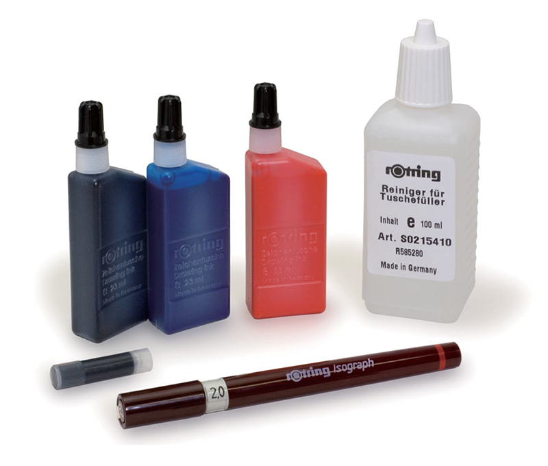 Clockwise from bottom: A drafting pen, a cartridge, ink, and cleaning solution