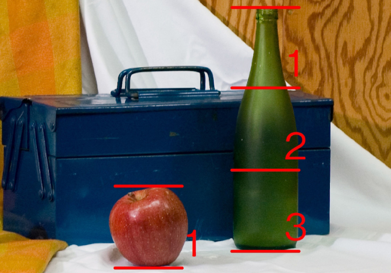 In this example, the bottle is three apples tall