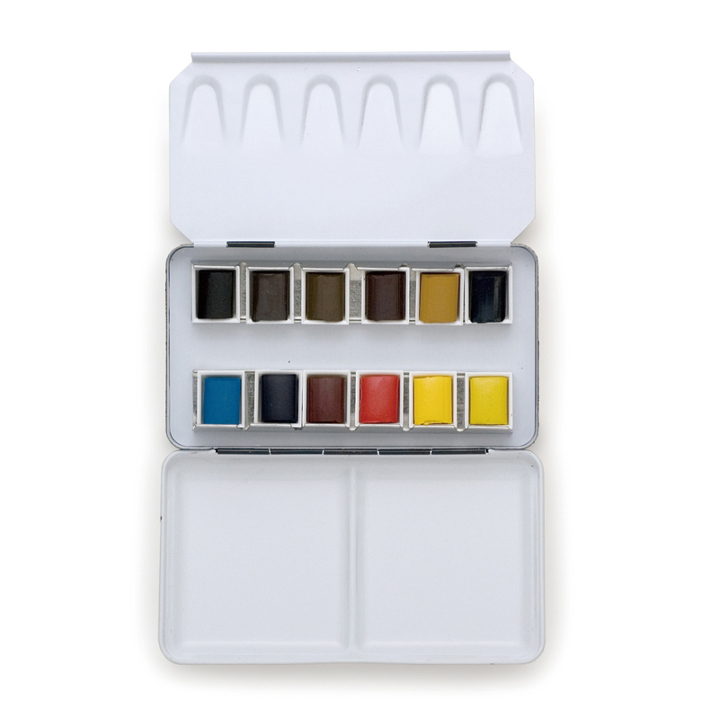 Palette with solid watercolor paint