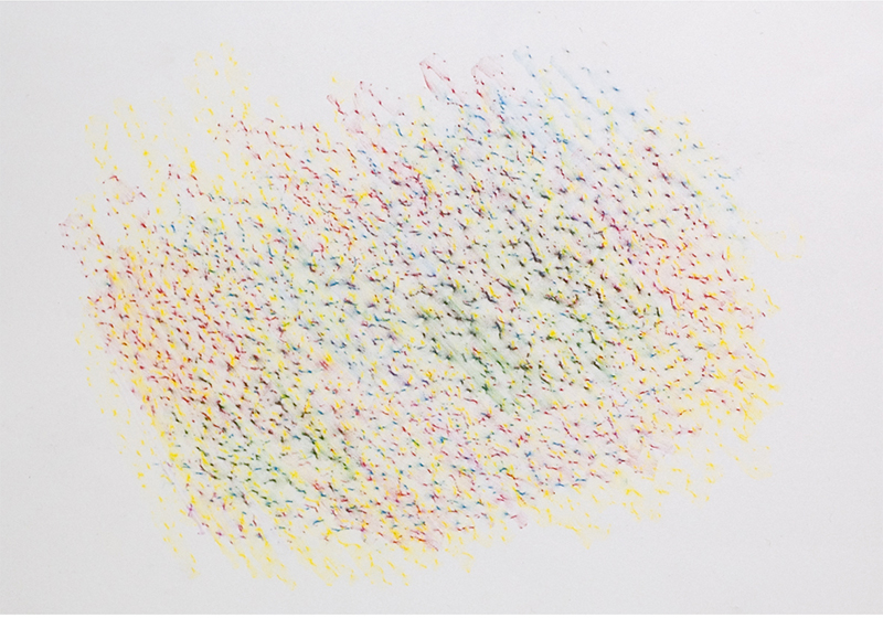 Colored pencil strokes on a piece of high-quality paper (using multiple colors)