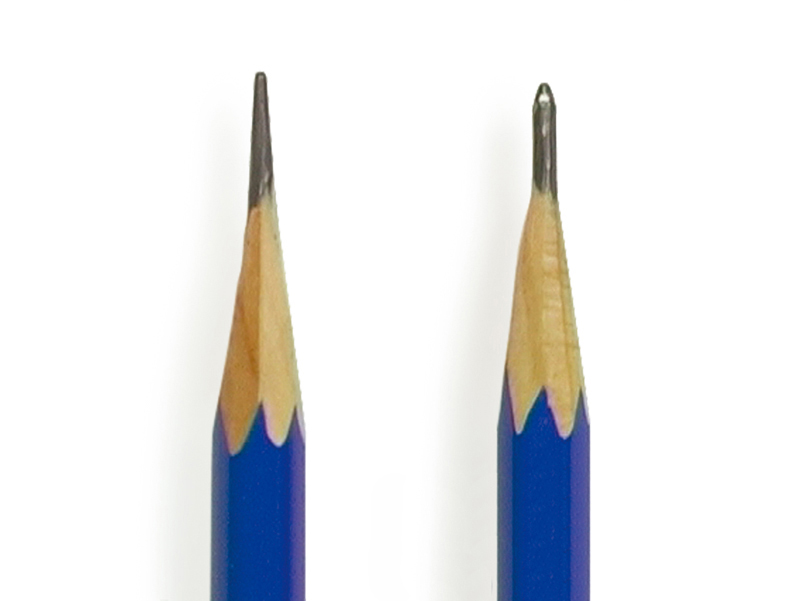 Use pencils of different hardness to get the right graphite length and sharpness