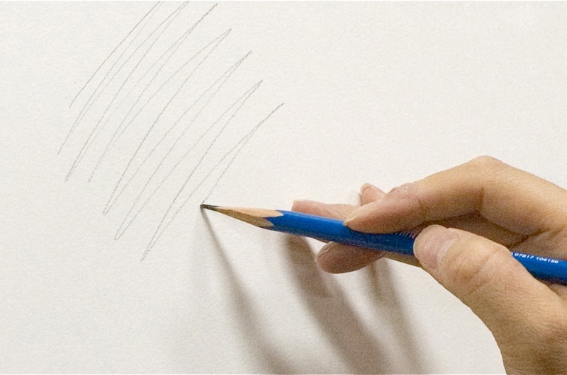 Making lines with the tip of the graphite