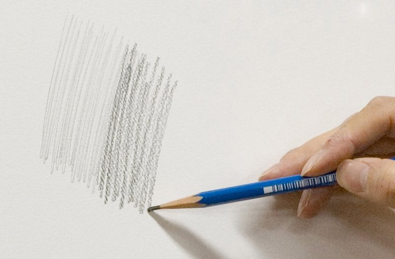 Drawing with pencils of different hardness