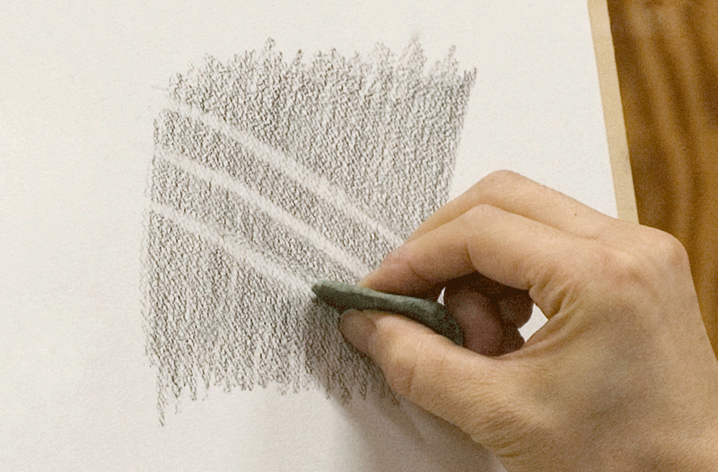 Making lines with a kneaded eraser