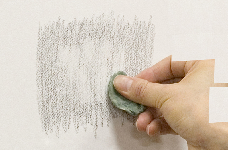 Making white areas with a kneaded eraser