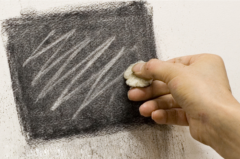Drawing lines with hardened bread