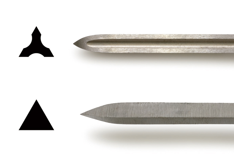 Cross-section and close-up photo of the blade