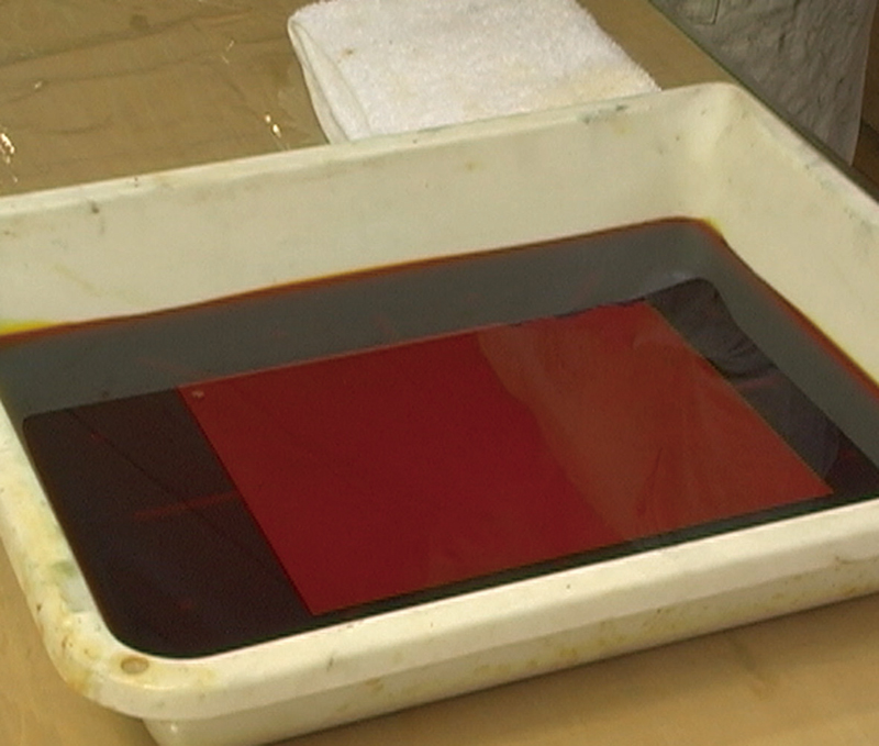 Etching by aqueous ferric chloride solution